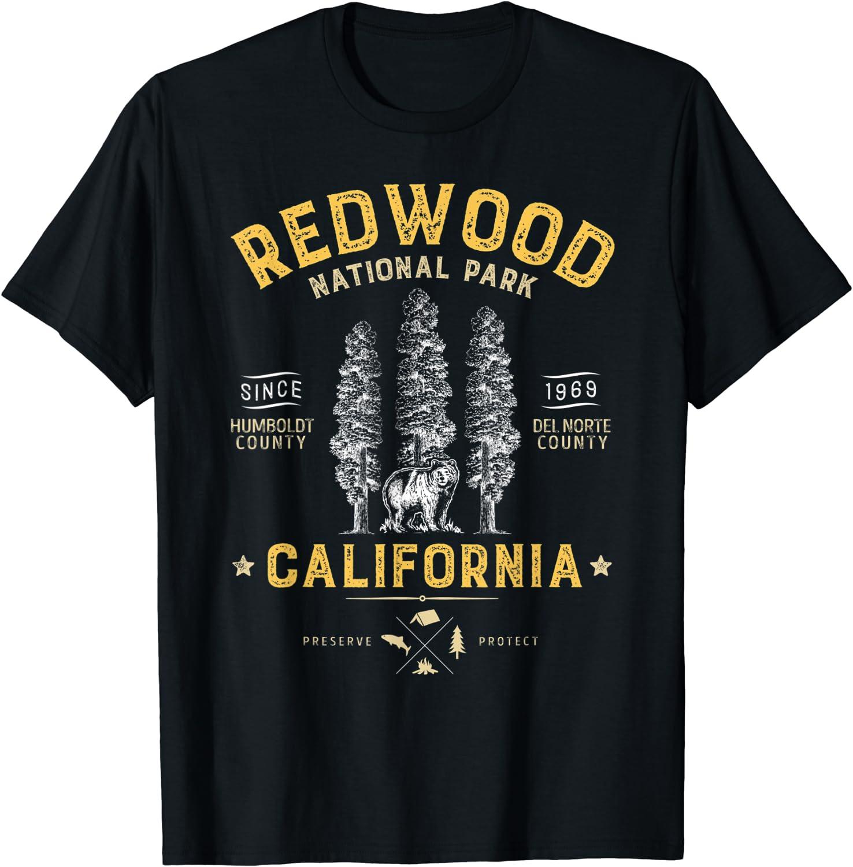Redwood National Park T Shirt Vintage California Bear Gifts