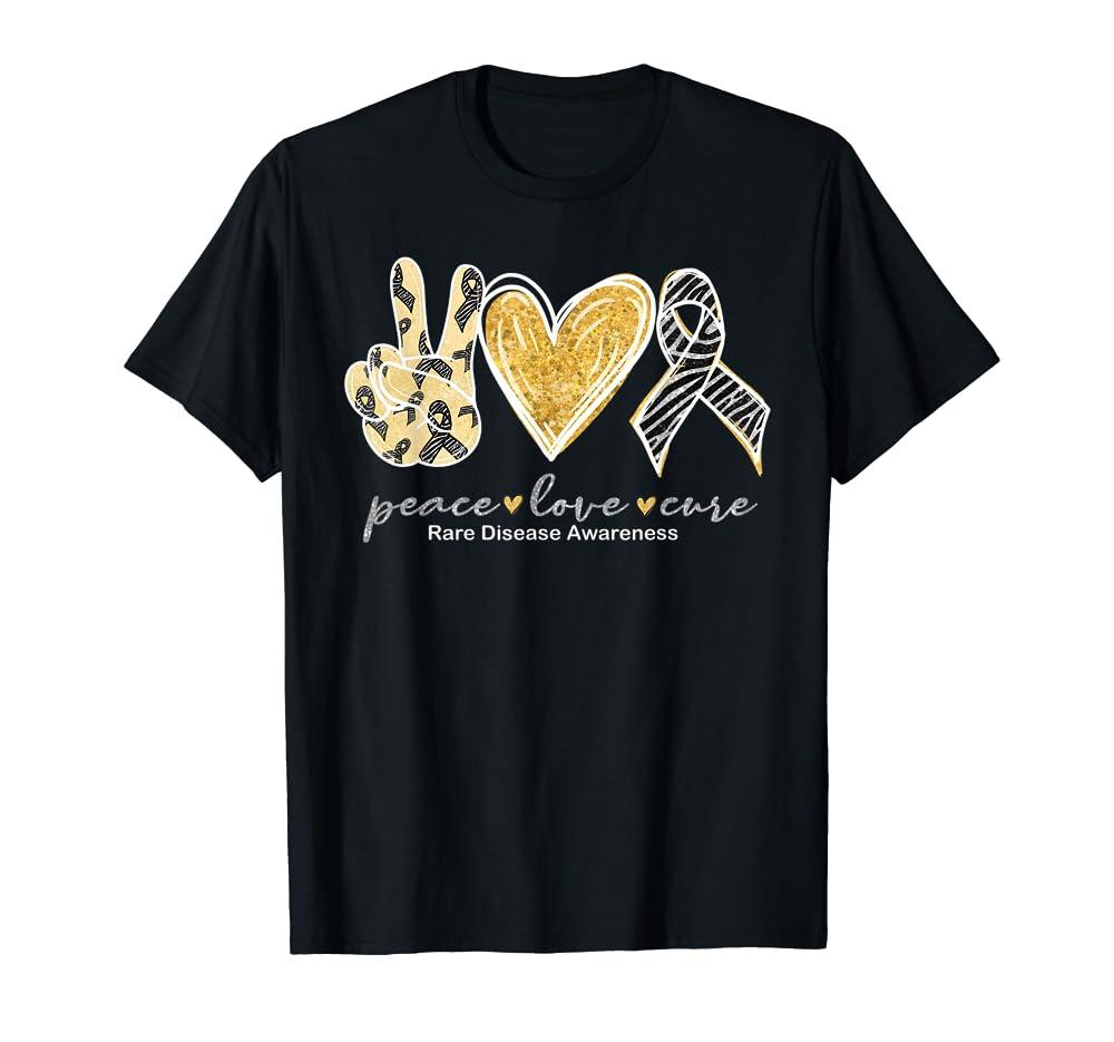 Peace Love Cure Zebra Ribbon Rare Disease Awareness T-Shirt Unisex Tshirt