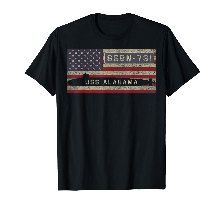 USS Alabama SSBN-731 Nuclear Submarine American Flag Gift T-Shirt-ANZ