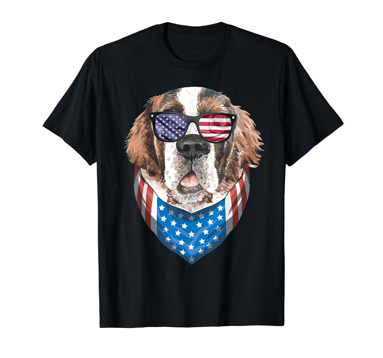 Fourth Of July Bernard American Flag July 4th St Bernard Dog T Shirt