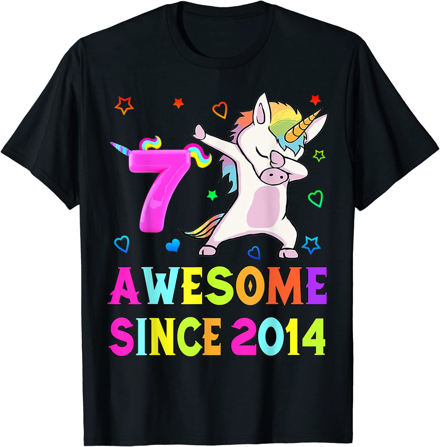 7th Bday Girl Unicorn 25% OFF Las Vegas Mall Dabbing Awesome 7yrs T-Sh 2014 old since