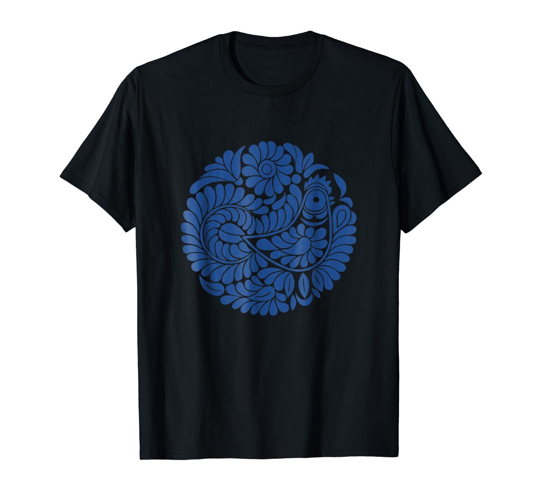 Ludovo: Singing Bird Slovak Folklore Blue Design T-Shirt-ANZ