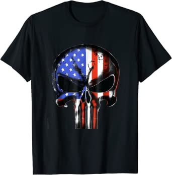 Punisher Skull USA Flag Patriotic Tactical Desaturated B/&W Sleeve Print T-Shirt