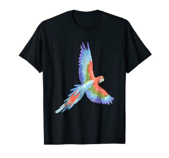Amazon com: Parrot Shirt Watercolor Art Jungle Bird Tropical