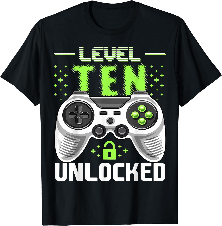 Level 10 Birthday Shirt Boy 10 Years Old Video Games Gift T-Shirt Birthday Gift