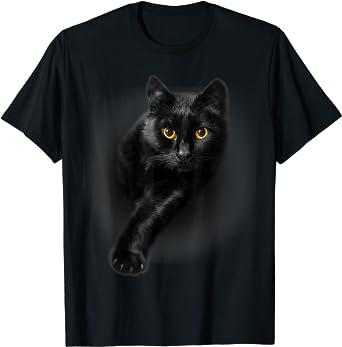 Black Cat Yellow Eyes T-Shirt Cats Tee Shirt Gifts