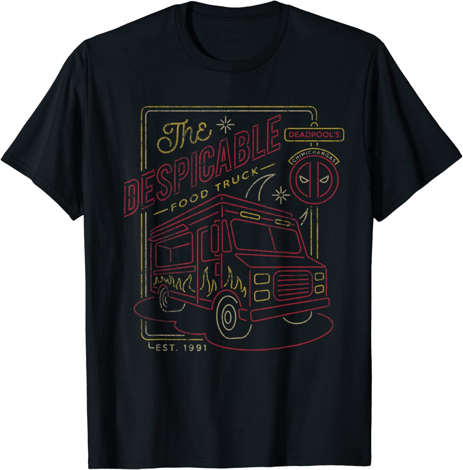 Marvel Deadpool Chimichangas Despicable Food Truck T-Shirt