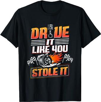 Tire Track Check Mark Funny Car Shirt Car Guy Just Send It Car T-Shirt