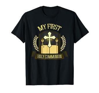 Amazon.com: Primera Comunión camisa regalo niños Biblia Cruz ...