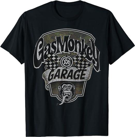 Gas Monkey Garage Camo Checkered Flag Text Logo T Shirt Bekleidung