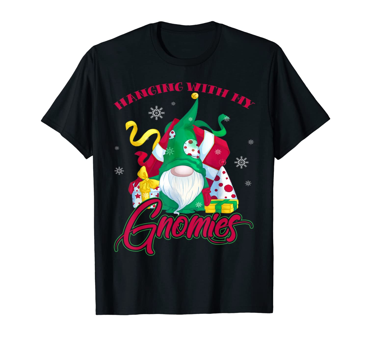Hanging With My Gnomies Funny Gardening Gnome Christmas Tee T-Shirt-TH