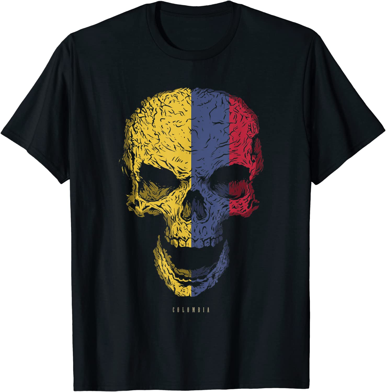 Camiseta Calavera con Bandera de Colombia Cráneo Camiseta ...