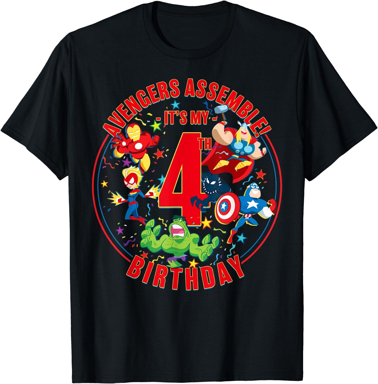Marvel Avengers Assemble It's My 4th Birthday T-Shirt