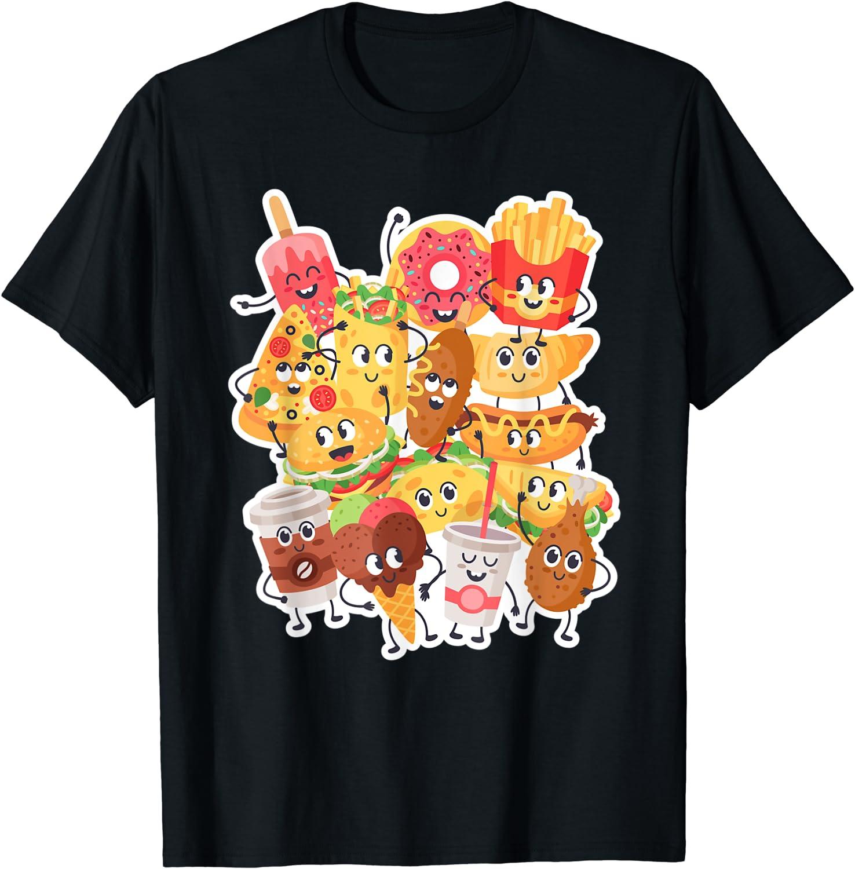 Comfort Food Inspired Fast Food Related Junk Food Kawaii Des T-Shirt