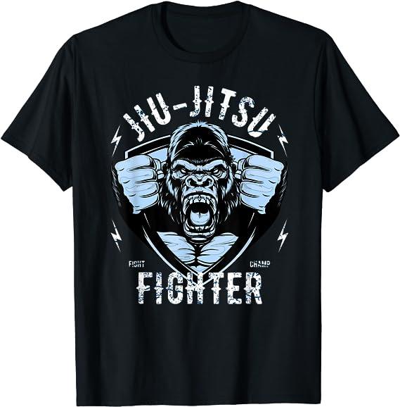 Gorille T Shirt Jujitsu Brazilian Jiu Jitsu Arts Martiaux Tee Top MMA Entraînement UFC