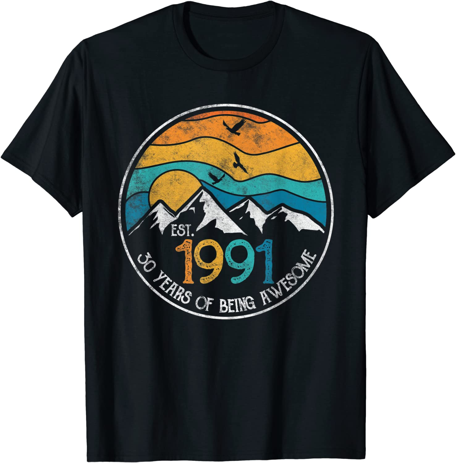 Est. 1991 30 Years of Being Awesome Vintage 30th Birthday T-Shirt