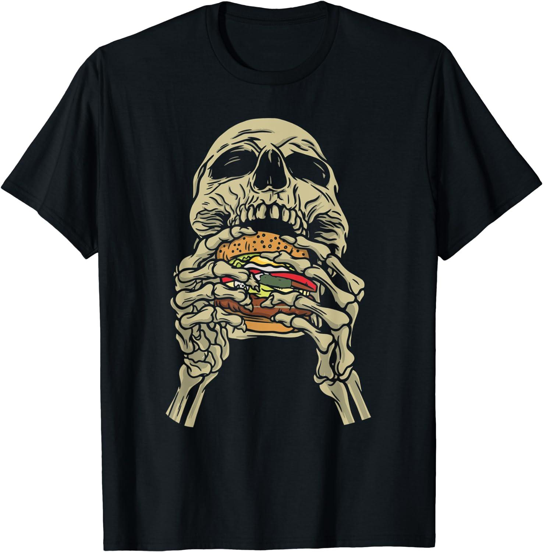 Skeleton Scull Eating Cheeseburger Junk Food T-Shirt