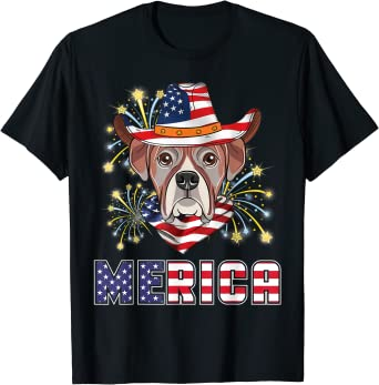 Boxer Dog & US Flag Hat Fireworks Merica 4TH Of July Day T-Shirt