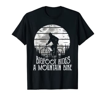Amazon.com: Bigfoot Rides A Mountain Bike Tee Funny Biker ...