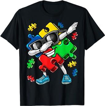 Autism Awareness Dabbing Puzzle Piece Kids Gift Boys T-Shirt