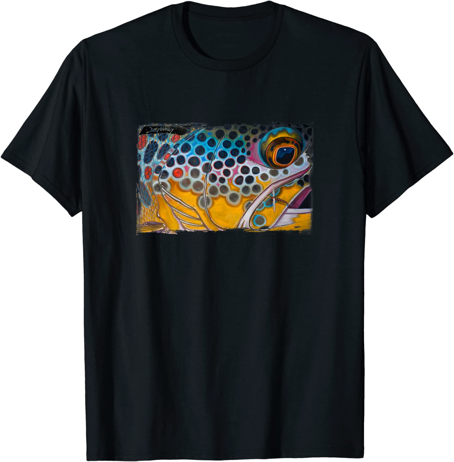 Brown Trout and Dry Fly T-Shirt Derek DeYoung
