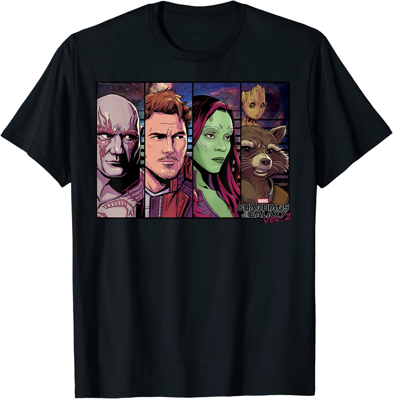 Marvel Guardians Vol.2 Star-Lord Drax Gamora Groot T-Shirt