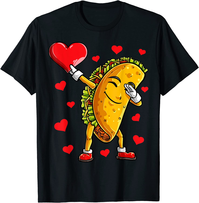 Dabbing Taco Heart Love Valentines Day Boys Kids Food Lover T-Shirt