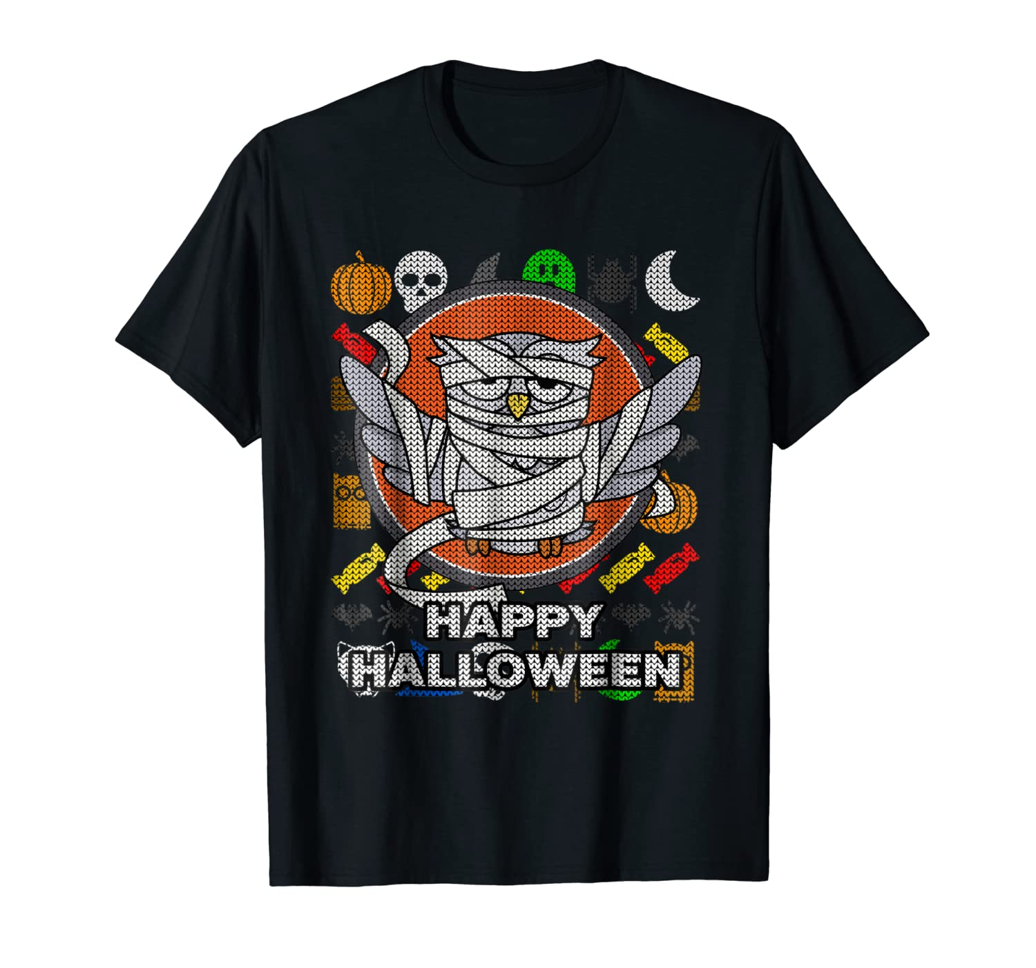 Mummy Owl Ugly Style T-shirt - Happy Halloween