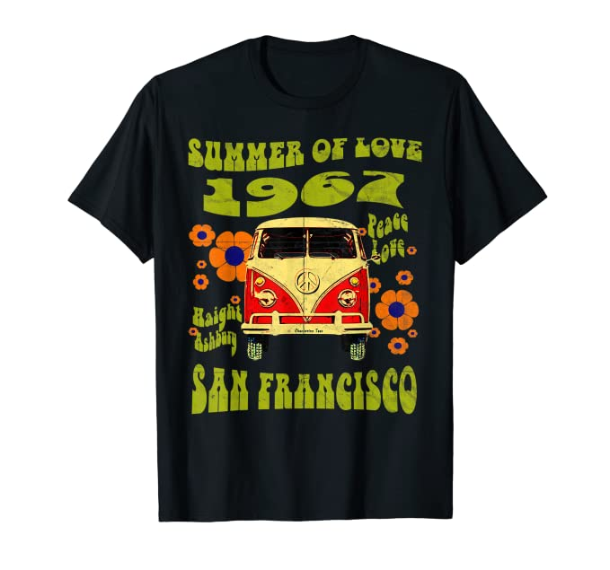 Hippie Dress | Long, Boho, Vintage, 70s 1967 Summer of Love San Francisco Haight Ashbury Hippie T-Shirt $19.67 AT vintagedancer.com