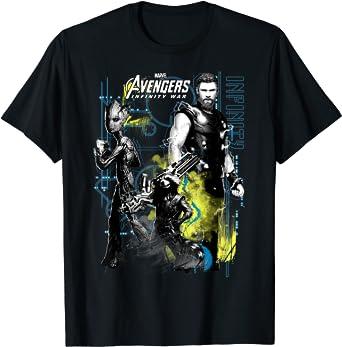 Marvel Infinity War Thor Groot Rocket Tech Camiseta: Amazon ...