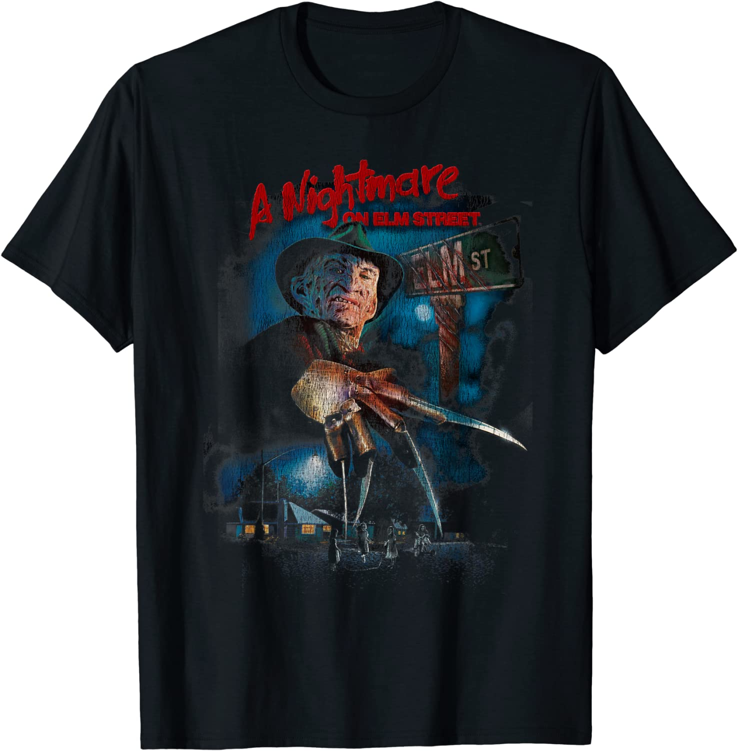 A Nightmare On Elm Street Freddy Poster Fade T-Shirt-TH