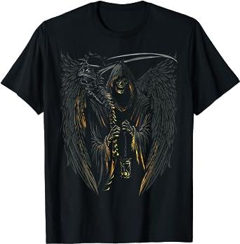 Angel of Death Grim Reaper Scary Halloween Graphic Dark Art T-Shirt