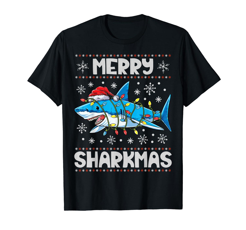 Merry Sharkmas Shark Santa Ugly Christmas Lights Boys Xmas T-Shirt-ANZ