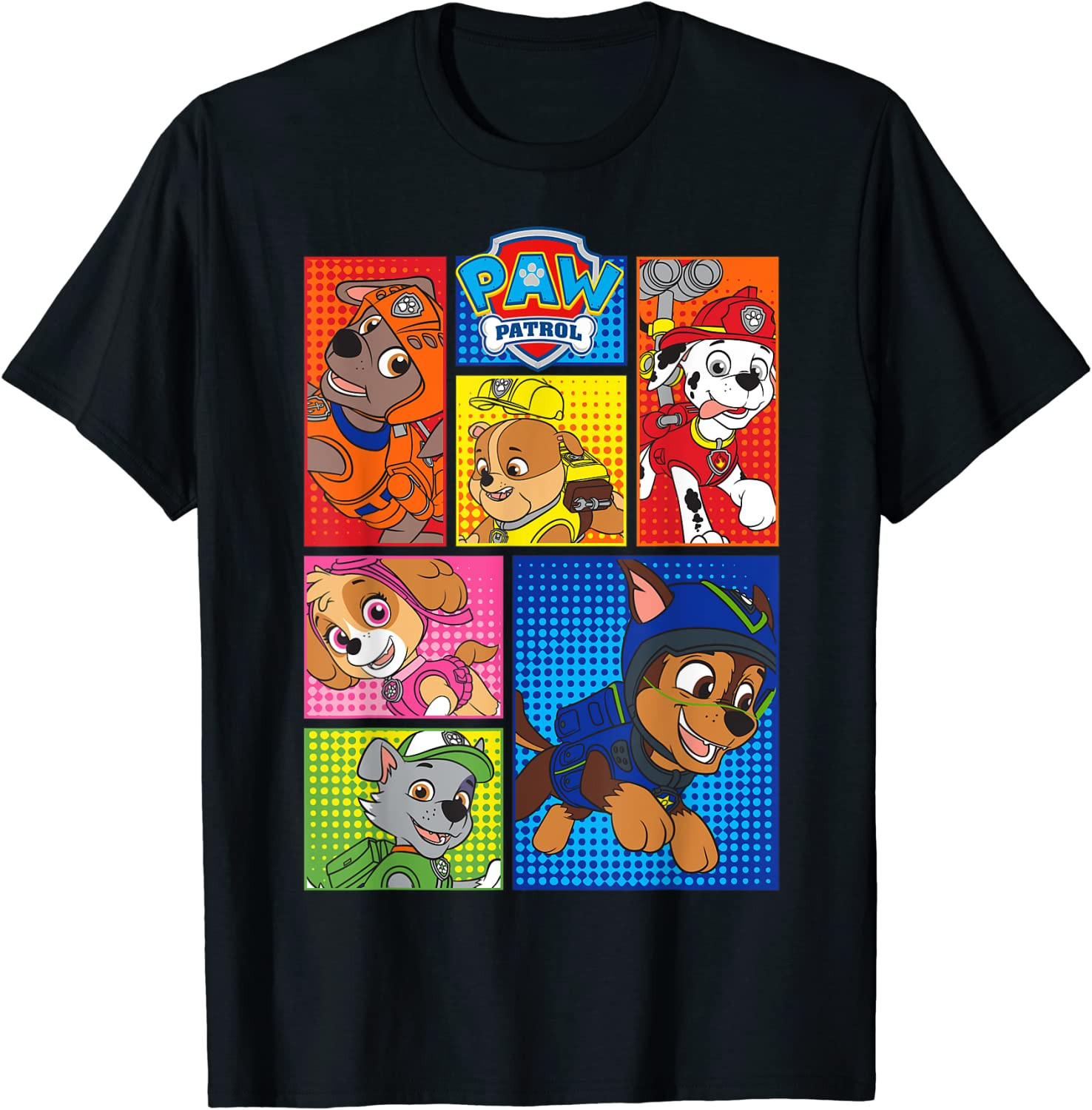 Paw Patrol Group Shot Of Pups In Shapes T-Shirt