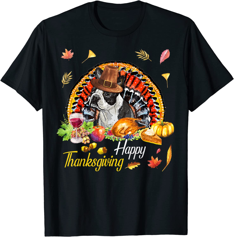 Amazon.com: Happy Thanksgiving day Boston Terrier Dog ...