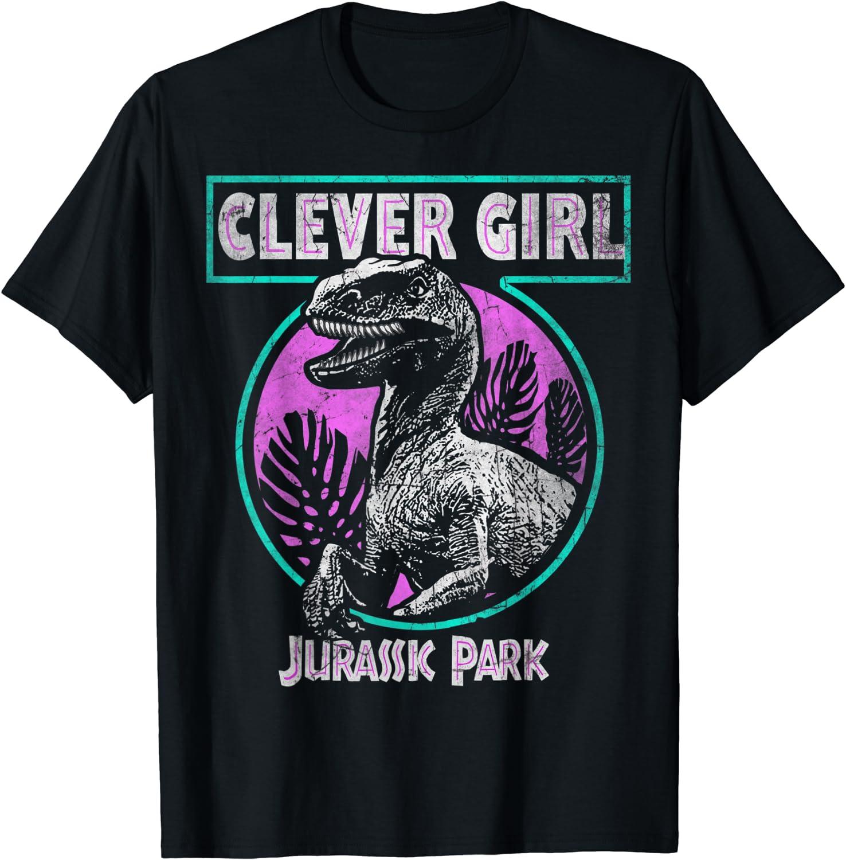Jurassic Park Distressed Teal Raptor Clever Girl T-Shirt