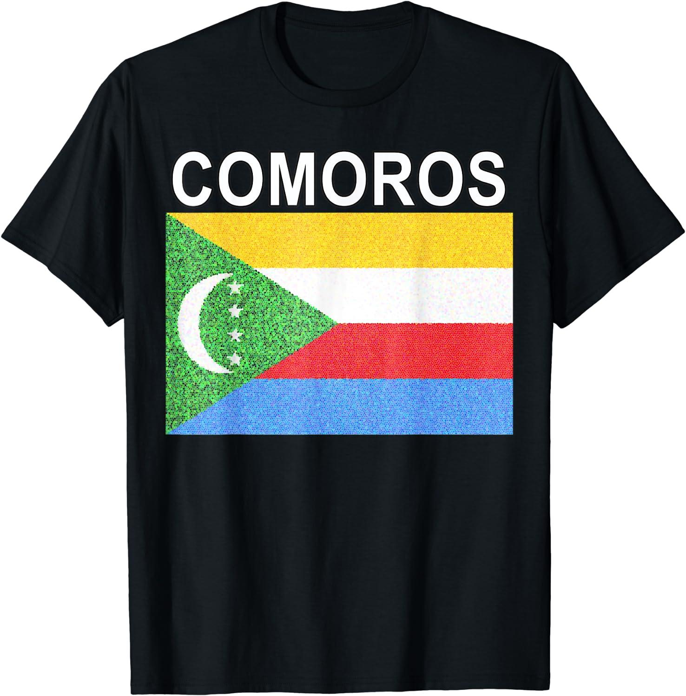 white t shirt top country design Comoros flag mens womens kids /& baby sizes