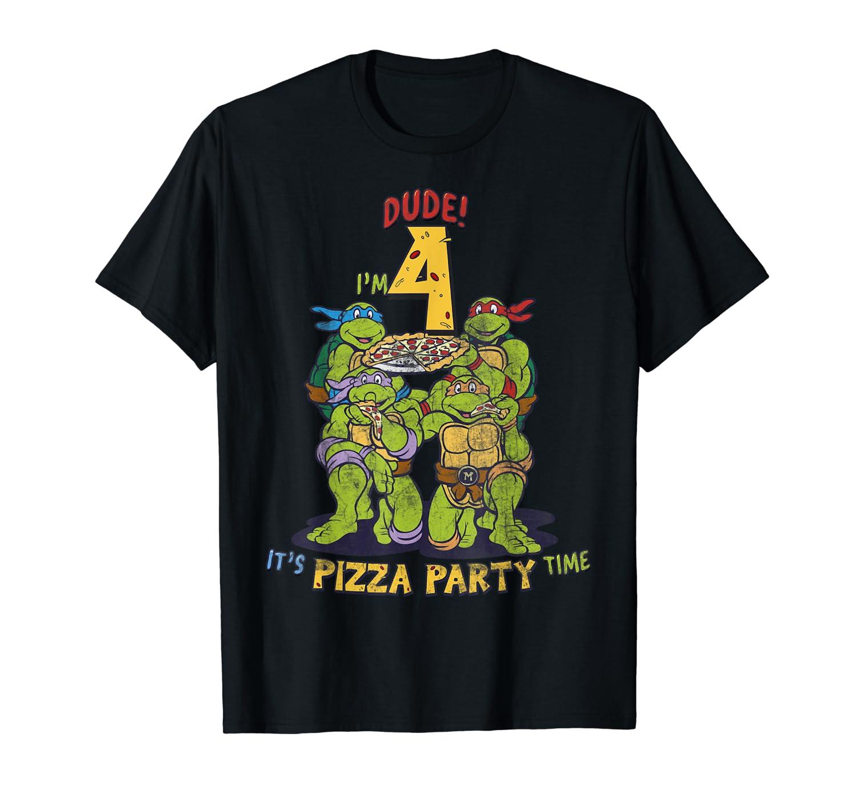 Teenage Mutant Ninja Turtles I'm 4 Dude Pizza Birthday Party T-Shirt