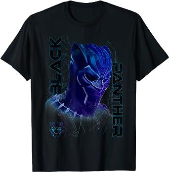 Marvel Black Panther Movie Geo Tech Purple Portrait T-Shirt