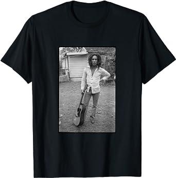 Bob Marley x David Burnett Black /& White Guitar Photo T-Shirt