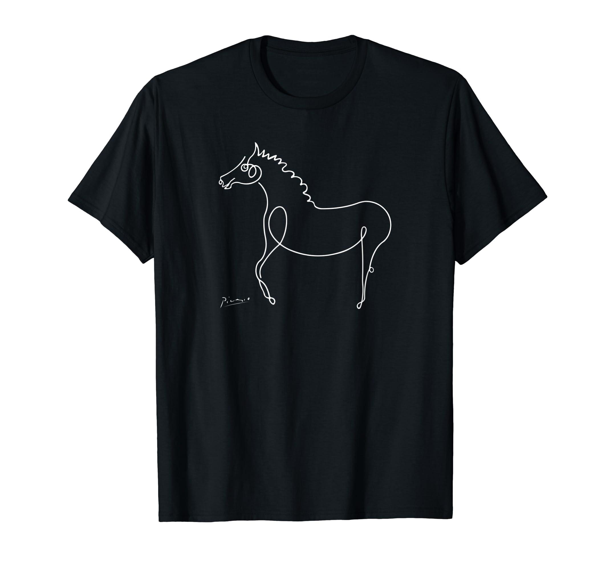 Horse T Shirt, Pablo Picasso Animals Sketch Art-Men's T-Shirt-Black