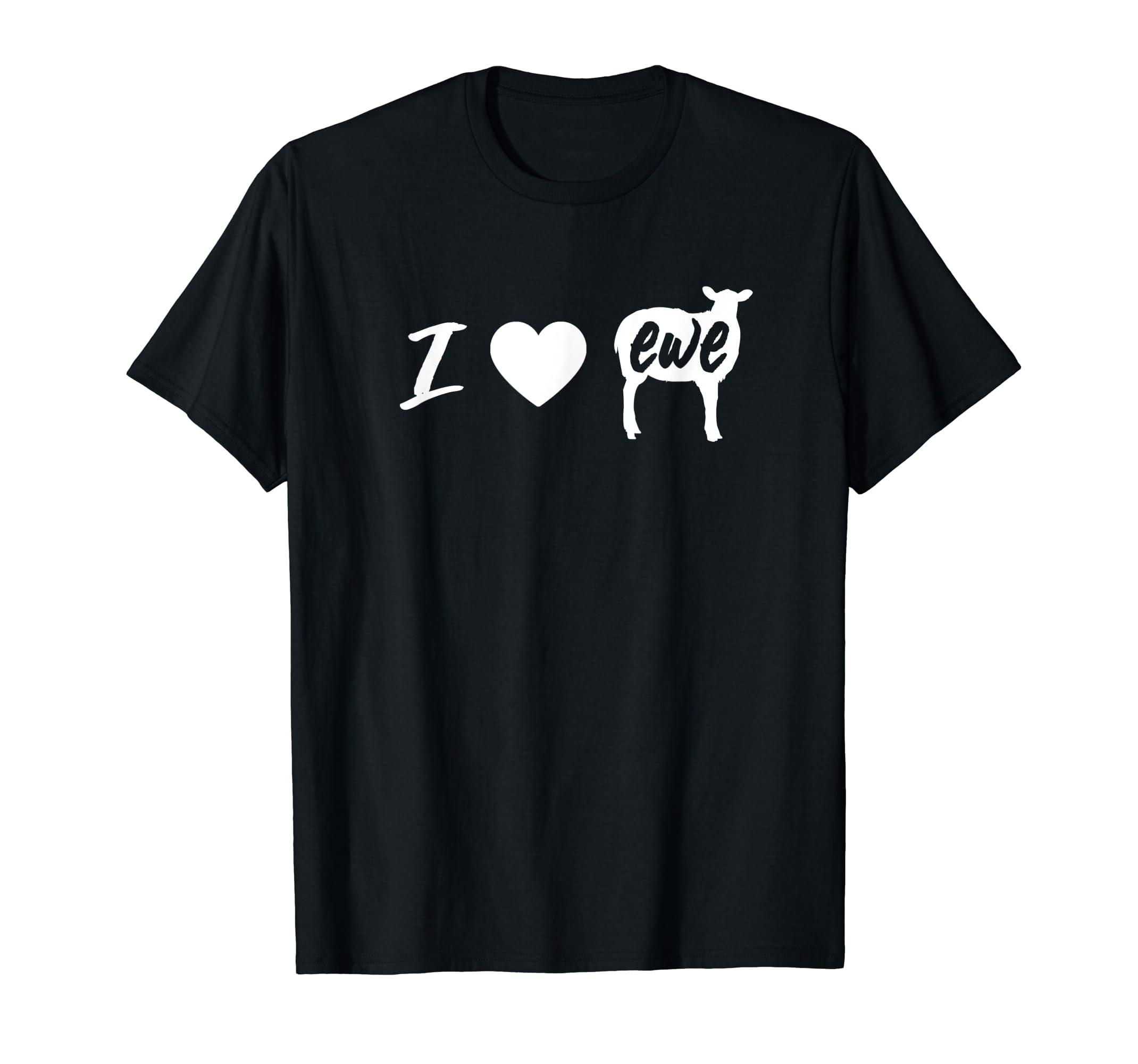I Love Ewe - I Love You Sheep Pun Shirt-Men's T-Shirt-Black