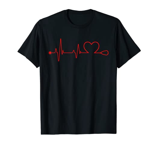 69723007ff6 Amazon.com: Nurse Heart Stethoscope Pulse ER Doctors RN T-Shirt ...
