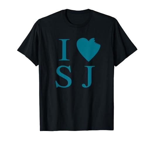 quality design 71aa2 b8f3f Amazon.com: I Love San Jose Shark Bite Heart Teal Shirt ...