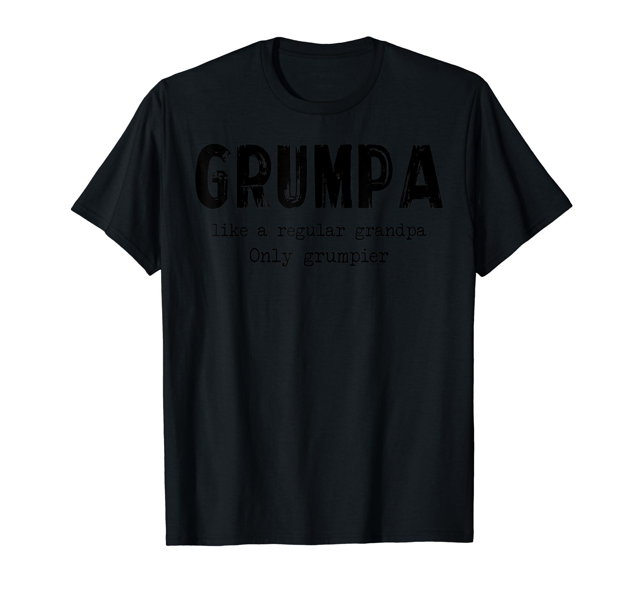 Grumpa Like A Regular Grandpa Only Grumpier T Shirt-Men's T-Shirt-Black