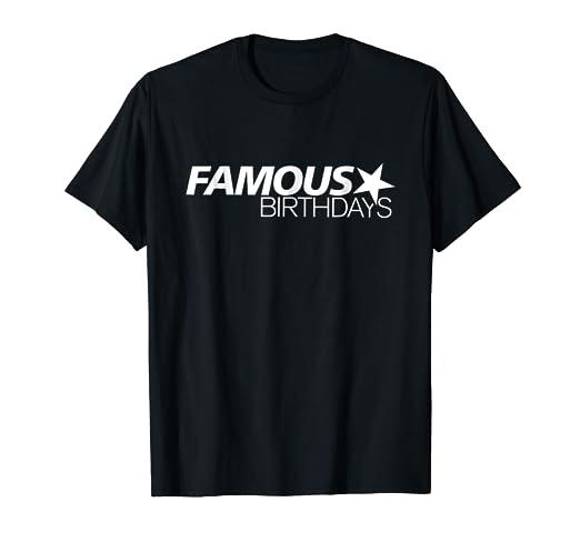 Amazon com: Famous Birthdays White Logo T-Shirt: Clothing
