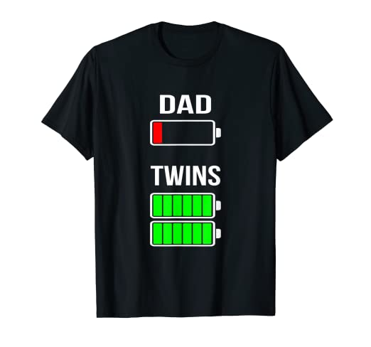 a9f552239 Amazon.com: Mens Tired Dad Low battery Twins Full Charge funny gift T Shirt:  Clothing