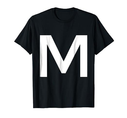 db7fed6ced6 Amazon.com  Letter M Alphabet Initial Monogram T-shirt  Clothing