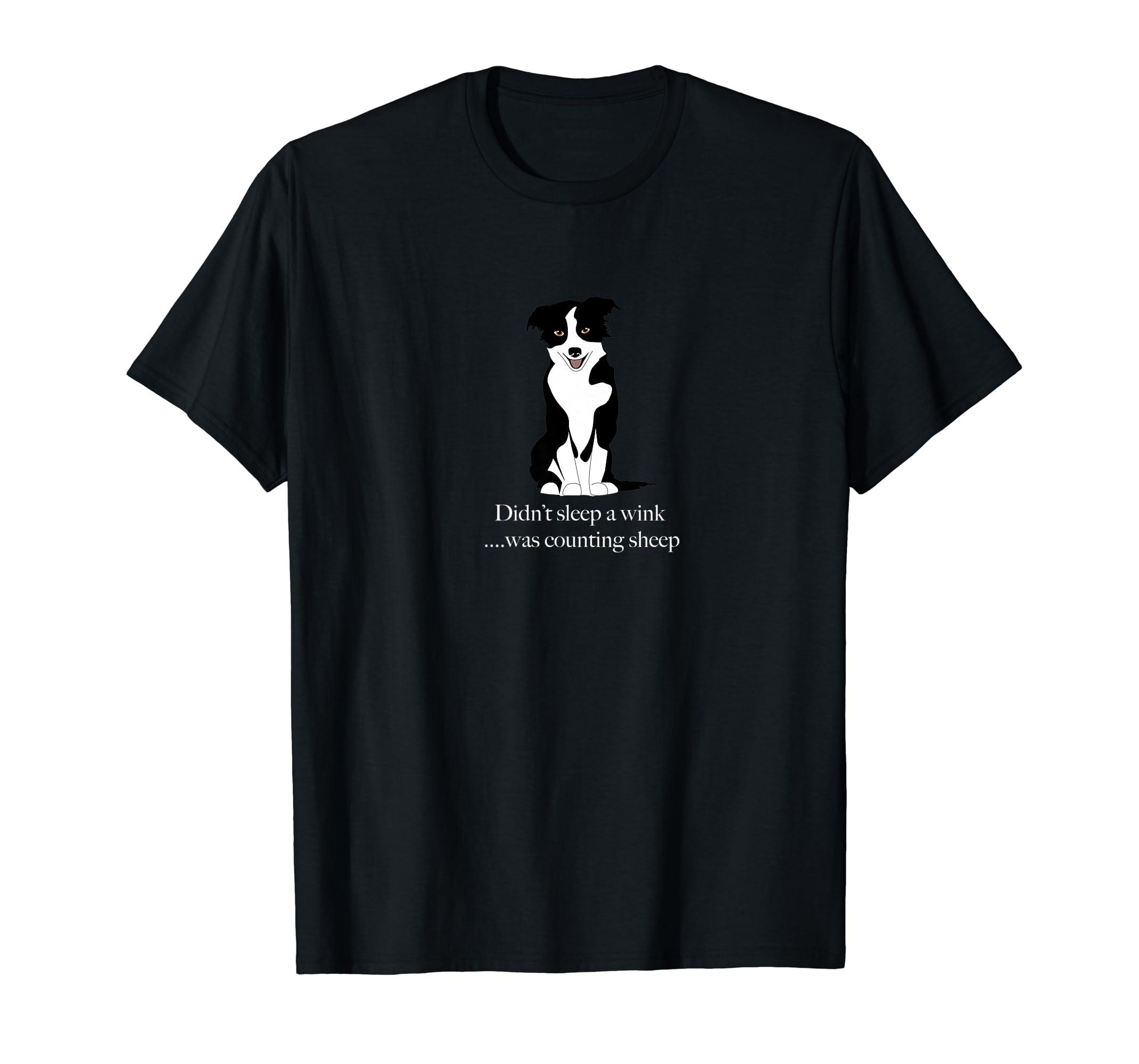 Border Collie Counting Sheep Shirt - Funny things herding do-Men's T-Shirt-Black