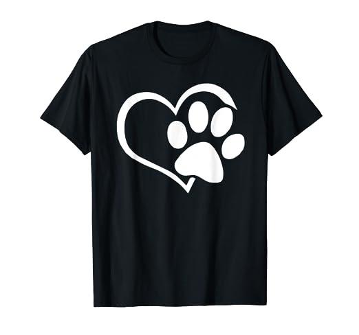 d9d20c8de Image Unavailable. Image not available for. Color: Dog Puppy Shirt - I Love  Dogs Paw Print Heart Cute Women Men